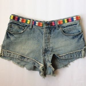 Free people Eliot denim embroidered rainbow cutoff